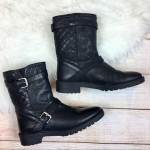 Zara black leather quilted short moto boots 37